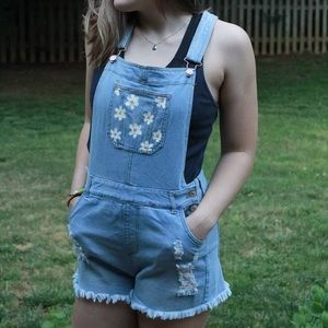 Daisy Painted Overalls
